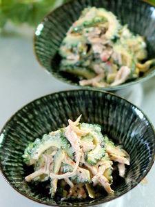 ゴーヤと鶏胸肉の梅マヨサラダ