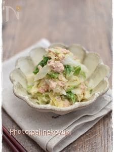 レンジで簡単!白菜とキャベツのたらマヨ蒸し