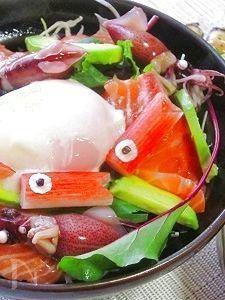子供の日に!温泉卵入り海鮮サラダ寿司♪