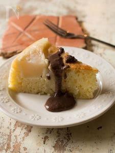 炊飯器で梨のお手軽ケーキとレンジチョコソース【炊飯器調理】