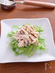 鶏のささみと水菜のハニーマスタードサラダ