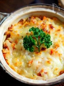パンチェッタと切干し大根キムチのチーズ焼き
