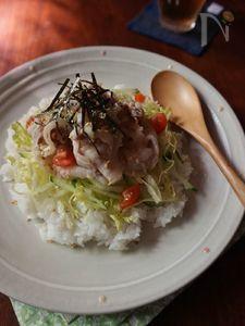 豚バラねぎ塩丼
