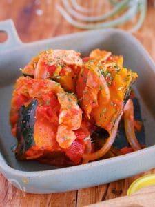 甘いおかずが苦手な方に♪『かぼちゃとトマトの洋風うま煮』