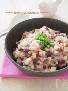 1日の1/2量の食物繊維。小豆と押し麦の中華風リゾット