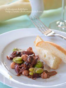ホタルイカと小柱 そら豆の軽いクリームソテー