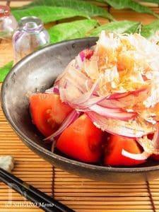 冷やしトマトと紫玉ねぎのおかかポン酢