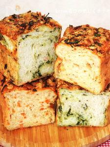 ほうれん草と人参のオニオンチーズパン