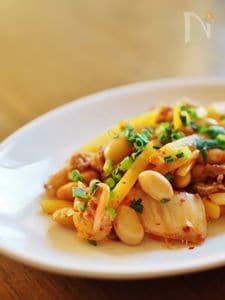 豚キムチと大豆の炒め物