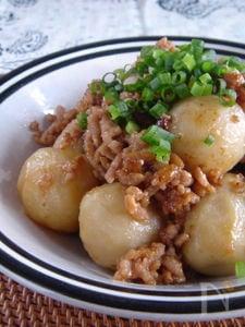 里芋とひき肉のガーリック味噌炒め。