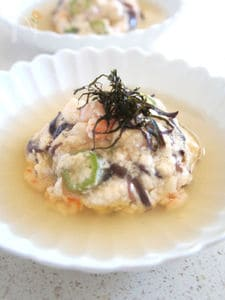 ふわふわ蒸し野菜豆腐の餡かけ