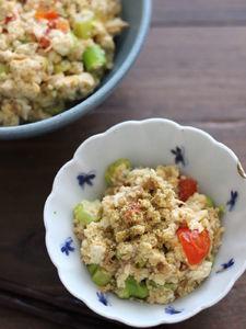 味付けは焼き鳥缶にお任せ!山椒香る夏野菜のスタミナ炒り豆腐