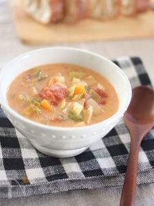 食べるスープ♪クリーミーな野菜たっぷりミネストローネ