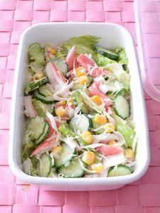 カニかまぼことコーンの野菜マヨサラダ 作り置きレシピ