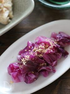 レンジで簡単!5分で華やぐもう一品♪紫キャベツのおひたし