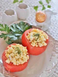 トマトのファルシー、ライスサラダ