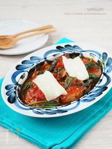 簡単ご馳走!チーズとほうれん草のトマト煮込ハンバーグ