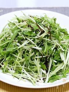 水菜と塩昆布のシャキシャキサラダ