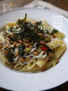 味付け不要♪高菜と納豆とシラスのパスタ