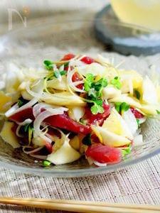 簡単鰹のお刺身と日向夏のサラダ