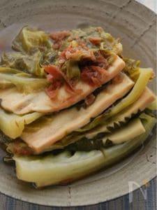 高野豆腐とキャベツの梅味重ね煮
