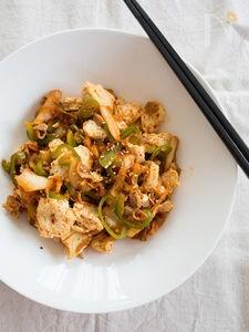 豆腐とピーマンの豚キムチ炒め