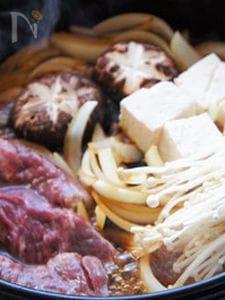 豆腐と新玉ねぎのすき焼き肉風