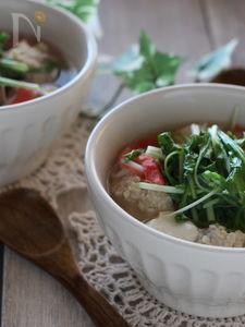 水菜と鶏団子のスープ