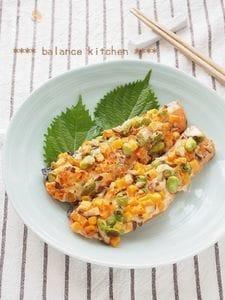 トースターで 鮭と野菜のみそマヨ焼き
