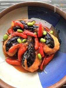 茄子のエビすり身揚げチリソース風味