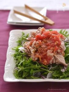つぶしトマトだれの豚しゃぶサラダ
