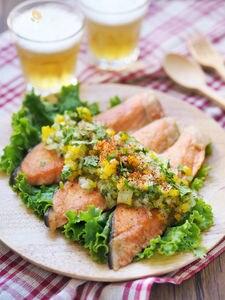 鮭のムニエル・柚子胡椒の爽やかサルサ