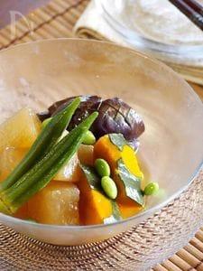 ひんやり夏野菜の炊き合わせ