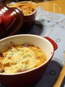 豆乳で作るトマトの入ったパスタdeグラタン