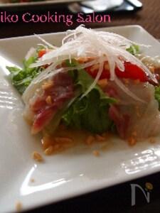 ピーナッツが決め手!!中華風鯛のカルパッチョ~サラダ仕立て