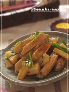 鶏手羽とれんこんの黒酢炒め