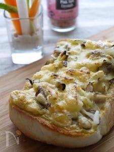 ピザソースも野菜で!カレー風味のきのこトースト