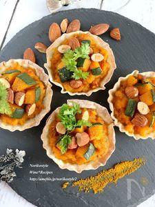 かぼちゃとアーモンドのカレー風味お食事タルト