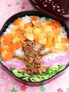 きんぴらツナそぼろでお花見散らし寿司