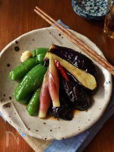 手作り麺つゆで夏野菜の揚げ浸し
