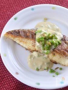 豆乳味噌たらの芽ソース (鯛のムニエル版)
