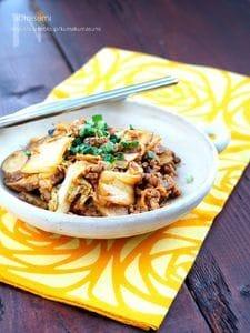 10分レシピ!ごぼうとひき肉のオイキム炒め