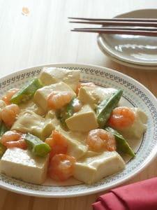 オクラとえびのあんかけ豆腐