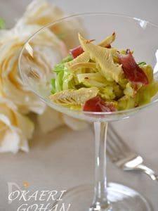 筍のアーリオ・オーリオ 春キャベツとクリームの温かいサラダ