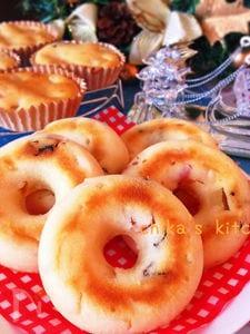 りんごとレーズン入り♪もっちもちなクリチ焼きドーナツ♡