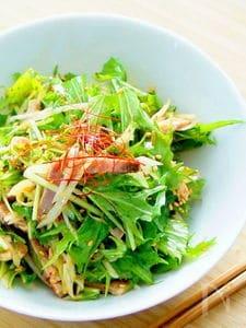 混ぜるだけの水菜と長葱の叉焼サラダ