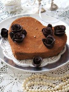 キャラメルアーモンドのハートチョコケーキ