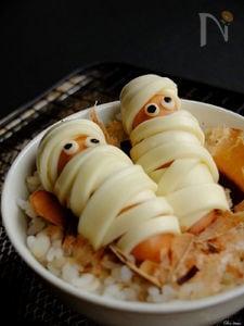ハロウィン気分なデコ朝食☆ミイラ男のねこまんま!