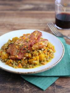 お野菜たっぷり!カボチャとレンズ豆のハーブ煮込
