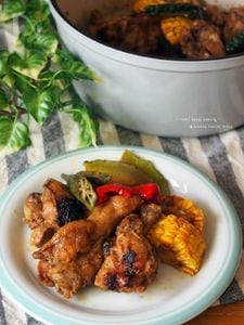 夏野菜と手羽元のタンドリーチキン